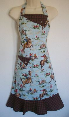 Blue Vintage Inspired Apron / Retro Western Cowboy by Eclectasie, $35.00