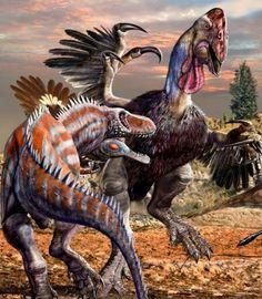 Gigantoraptor Nesting Grounds (defending a raid by Alectrosaurus)
