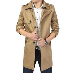 6308aedea89 2019 Fashion outwear long coat men trench casaco masculino male clothing  slim fit plus size Free