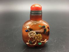 Chinese Old Red agate inlay jade/shell carving butterfly,horse snuff bottles