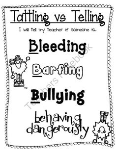 Tattling vs Telling Poster- The 4 Bs from The Price of Teaching on… Classroom Behavior, Future Classroom, School Classroom, Classroom Ideas, Kindergarten Classroom, Student Behavior, Behaviour Management, Classroom Management, Class Management