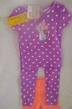 2f9fa669e Carter's Baby Girl 3 Piece Set Size 12 Months Purple Polk Dots Sleepwear  New #fashion