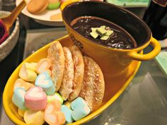 Mint chocolate fondue recipe from The Tabletop Cook