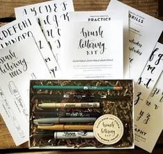 Brush Lettering Kit - DIY Brush Lettering Starter Set by Wildflower Art Studio ** See this great product. (This is an affiliate link) Calligraphy Kit, Modern Calligraphy, Calligraphy Supplies, Caligraphy, Lettering Guide, Brush Lettering, Bullet Journal Gifts, Le Lou, Kit Diy