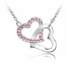 #saucy Everbling Double Heart Pink Swarovski Elements Crystal Pendant Necklace 18″