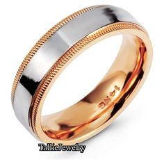 14K White and Rose Gold Mens and Womens Wedding by TallieJewelry
