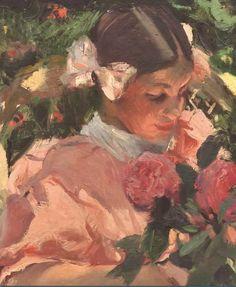 """PIntura de Joaquín Sorolla y Bastida - """"Elena among Roses"""", Detalhe (1907)"""