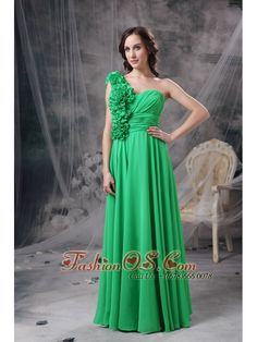 Customize Green Empire One Shoudler Prom Dress Chiffon Hand Made Flowers Floor-length- $125.16  http://www.fashionos.com  http://www.facebook.com/prom.fashionos.us  This kind of prom dress shows a one strap style with heavily covered handed flowers which flowing from the back strap to the front waist area. And a ruched texture gathering at the waist adds details to the dress midsection. The green floor length skirt will make you full of girlish and dreamy. A hidden zipper secures the back.
