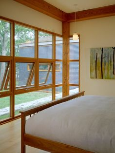 Modern Wooden Flat House with Wooden Interior Decoration Domination : Chic Modern Bedroom Wooden Bedframe House On The Neck
