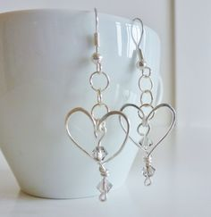 Wire & Swarovski Heart Earrings £5.00 by Made by Kelly