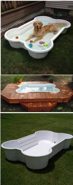 How to Make a Dog Pool Shaped Like a Bone – DIY. How cute! #DogLovers http://stores.ebay.com/Great-Sky-Gifts?refid=store