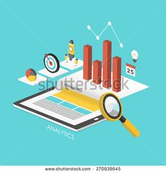 business concept 3d isometric infographic with tablet showing data analytics  - stock vector