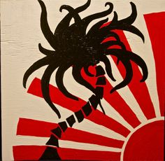 Painting on Wood - Red Sun & Black Palm, by Bobby Janss