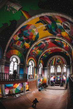 okuda san miguel has completed a mural within an indoor skate park hidden within a spanish church. okuda san miguel has completed a mural within an indoor skate park hidden within a spanish church. Murals Street Art, Street Art Graffiti, Graffiti History, 3d Street Art, Okuda, Urbane Kunst, Sistine Chapel, Skate Park, Dc Skate