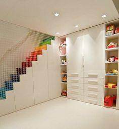kinder schlafzimmer design ideen in weiß netz als trennwand