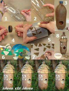 Cabanes oiseaux on pinterest birdhouses bird houses and - Diy bouteille plastique ...