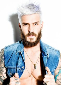 Mens Platinum Hairstyles Mens Platinum Hairstyles Awesome Beards & Male Platinum Blonde Hair Color Trends 2017 - New Site Blonde Jungs, Platinum Blonde Hair Color, Blonde Color, Hair And Beard Styles, Hair Styles, Beard Growth Oil, Beard Tattoo, Tattoo Man, Silver Hair