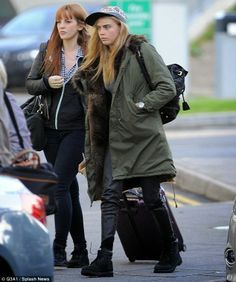 Cara Delevingne was seen arriving at Gatwick Airport