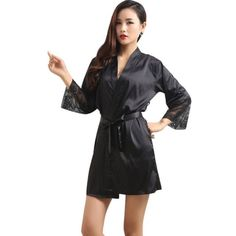 Women Sexy Deep-V Nightwear Robes Plus Size Lace Silk Sleepwear
