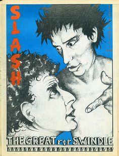 Cover: Slash volume three #3, April 1980. Malcolm McLaren and Johnny Rotten (blue version). Illustration: Biggs