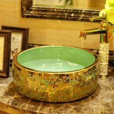 5colors Gold Flower Artistic Drum Shaped Ceramic Bathroom Sink - ICON2 Luxury Designer Fixures  5colors #Gold #Flower #Artistic #Drum #Shaped #Ceramic #Bathroom #Sink