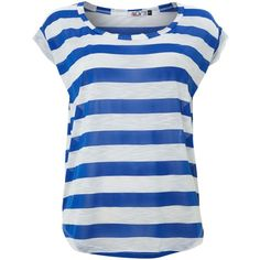Wal-G Striped t-shirt (18 AUD) ❤ liked on Polyvore featuring tops, t-shirts, shirts, blusas, blue, women, scoop neck t shirt, jersey t shirt, striped shirt and loose fit t shirts