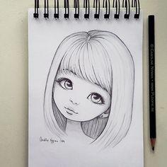 bleistiftzeichnung Minna by Ploopie Easy Pencil Drawings, Art Drawings Sketches Simple, Anime Drawings Sketches, Girly Drawings, Sketch Art, Cartoon Drawings, Easy Drawings Of Girls, Pencil Sketches Of Girls, Girl Drawing Easy
