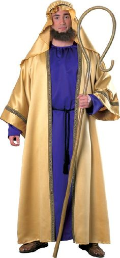 This Adult Joseph Costume is a dark purple and gold robe with attached hood and includes belt cord. This Adult Joseph costume is available in size Adult Standard. Great Nativity Scene Costume! Shepherds crook, sandals, and beard sold separately. Also great as a King of Arabia or Arabian Sheik Costume! Includes gold headpiece, purple and gold robe with attached belt cord and decorative trim.