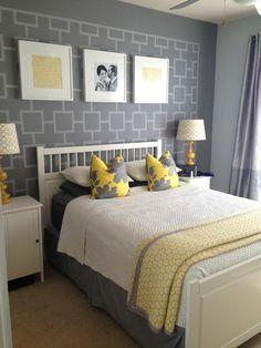 Grey master bedroom grey bedroom decor yellow gray bedroom decorating ideas grey and yellow bedroom ideas Grey Room Decor, Teal Bedroom Decor, Grey Bedroom Design, Yellow Bathroom Decor, Yellow Bathrooms, Bedroom Ideas, Wall Decor, Ochre Bedroom, Bedroom Designs
