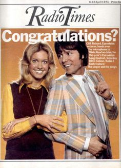 Olivia Newton-John gears up for the Eurovision Song Contest with Cliff Richard on the cover of the Radio Times. Doctor Who Illustration, Radio Times Magazine, Olivia Newton John, Vintage Tv, Vintage Magazines, Tv Times, Bbc Radio, Tv Guide, Album Songs