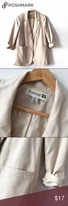 Ivory Forever 21 Blazer w/ Ruched Sleeves This blazer is soooo cute.  Add it to your wardrobe today!  I'd say it runs a little large - maybe oversized for a small!  Offers considered...& better yet, add this to a bundle to save some $$! ✨✨ Forever 21 Jackets & Coats Blazers