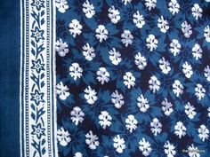 Navy Blue and White  Indian Fabric  Quilting by theDelhiStore