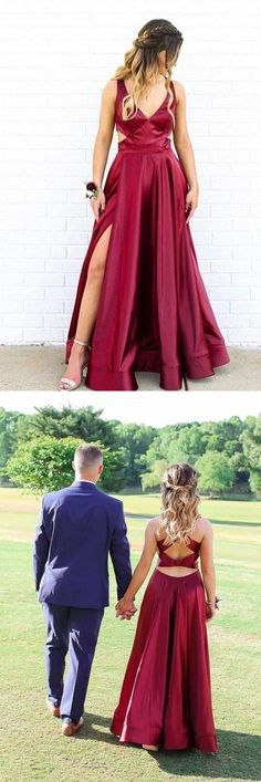 V-Neck Side Split Burgundy Prom Dress With Cutout, This dress could be custom made, there are no extra cost to do custom size and color Split Prom Dresses, Tulle Prom Dress, Bridesmaid Dresses, Formal Dresses, Wedding Dresses, Make Your Own Dress, Dress For You, New Dress, Prom Looks