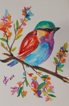 Original Watercolor Bird Painting, Pastel Colored Rainbow Roller, Colorful Watercolor Flowers Inch Original watercolor painting on acid free paper. size: cm / approx Inch Signed and dated on the front. Pastel Watercolor, Watercolor Bird, Watercolour Painting, Painting & Drawing, Simple Watercolor, Watercolor Images, Watercolor Canvas, Watercolor Artists, Watercolor Portraits