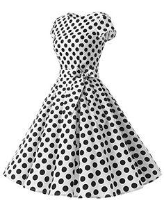 296ee05e284 Amazon.com  Dressystar Women Vintage 1950s Retro Rockabilly Prom Dresses  Cap-sleeve  Clothing