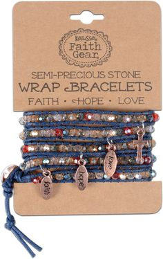 Faith Gear Wrap Bracelets wrap around the wrist multiple times to create a multistrand look with semiprecious stones and charms. Each piece is adjustable and comes in three colors.