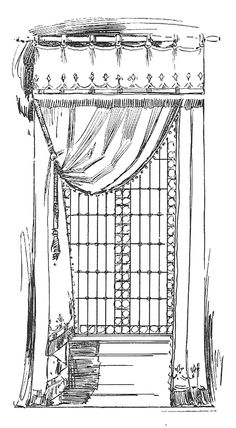 Antique Images: Vintage Graphic Curtain Design: Vintage Curtain Illustration Single Window Treatment