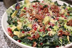Kale, sprout, avocado salad | Kindred Suppers Instagram @scorbfoodie Avocado Salad, Suppers, Pomegranate, Kale, Sprouts, Potato Salad, Food Photography, Vegetables, Cooking