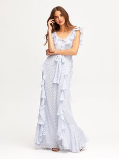 260cb034267b Crafted from a lightweight square chiffon, the Gown is the perfect  bridesmaid dress. The gown features vertical ruffles that flutter  gracefully with each ...