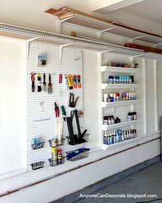Spray paint in rain gutter shelves to help organize your garage! Brilliant.
