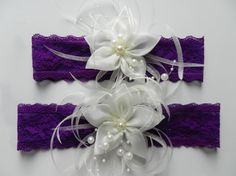 Hey, I found this really awesome Etsy listing at https://www.etsy.com/listing/199449623/purple-garter-set-bridal-garter-set