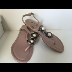 Embellished sandals Cute sandals. Nice nude color. Pairs well with many looks. Never worn. Bakers Shoes Sandals