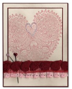Valentine Card 51 Vintage Lace Heart Rose Ribbon