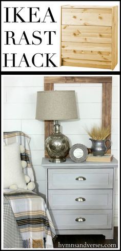 Building plans to take a basic Ikea Rast dresser and transform it with simple trim pieces into a cottage style nightstand.