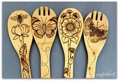 wood burning bamboo spoons by Regina Lord (creative kismet), via Flickr