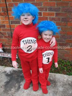 Homemade Thing 1 and Thing 2 Costume: I just purchased 2 red skivvies and 2 pairs of track pants on sale. Using iron on transfer paper I printed up 'Thing 1 and Thing 2' templates and ironed...