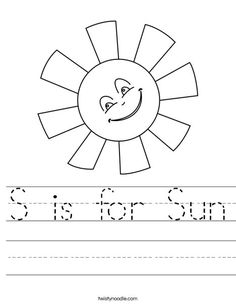Love this website for quick worksheets to add a little more to my little girls curriculum. While we get enough with MFW she just loves to do worksheets!  S is for Sun Worksheet - D'Nealian - Twisty Noodle