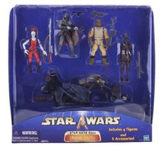 Star Wars Saga Ultimate Bounty Action Figure Set with 4 Figures (Aurra Sing, Bossk, IG-88 and Boba Fett), Swoop Bike and 6 Weapon Accessories http://www.amazon.com/Star-Wars-Ultimate-Figures-Accessories/dp/B000096PZU/ref=sr_1_1?s=toys-and-games&ie=UTF8&qid=1442015486&sr=1-1&keywords=Star+Wars+Saga+Ultimate+Bounty+Action+Figure+Set+with+4+Figures+%28Aurra+Sing%2C+Bossk%2C+IG-88+and+Boba+Fett%29%2C+Swoop+Bike+and+6+Weapon+Accessories