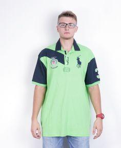New Ralph Lauren Mens 4XL Polo Shirt Green Cotton County Riders&Jockey Club