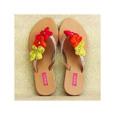 Fashion sandals in India, Sliver V Strap Tri-Flower 1 - Shop.InOnIt via Polyvore